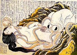 The Dream of the Fisherman's Wife by Hokusai is an artistic depiction of a sexual fantasy.
