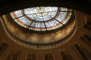 Stained glass skylight in Church of the Holy T...