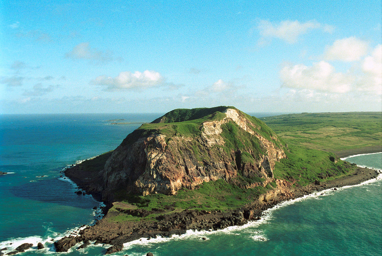 Mt. Suribachi's prominence is clear in this photo of the island of Iwo To, as it is known in Japan.