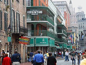 Bourbon Street, New Orleans, in 2003, looking ...