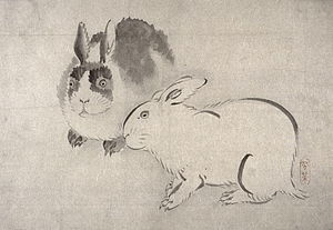 Two Rabbits (Kobi). By Kobi (active 19th century) (http://www.hwwilson.com/Databases/artmuseum.htm) [Public domain], via Wikimedia Commons