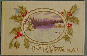 Weihnachtskarte Seide 1900