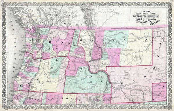 File1866 Colton Map of Oregon Washington Idaho and