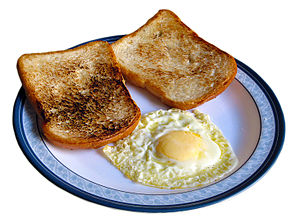 a traditional breakfast with egg and toasts