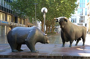 Bull and bear in front of the Frankfurt Stock ...