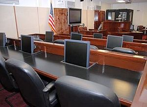 Guantanamo military commission court room.