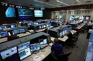 The International Space Station control room a...