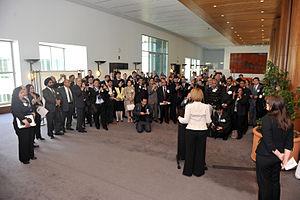 Prime Minister Julia Gillard speaking to atten...
