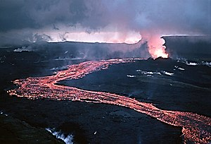 Lava flow during a rift eruption at Krafla vol...