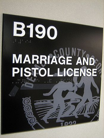 """""""MARRIAGE AND PISTOL LICENSE"""" office..."""
