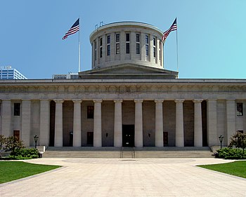 The Ohio Statehouse in Columbus where the Ohio...
