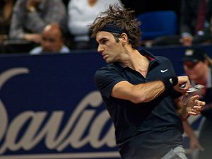 Roger Federer at the Davidoff Swiss Indoors in...