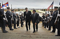 Aleksandar Vučić and U.S. Secretary of Defense Leon Panetta in Washington, D.C.