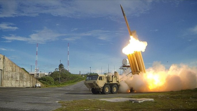 The first of two Terminal High Altitude Area Defense (THAAD) interceptors is launched during a successful intercept test - US Army