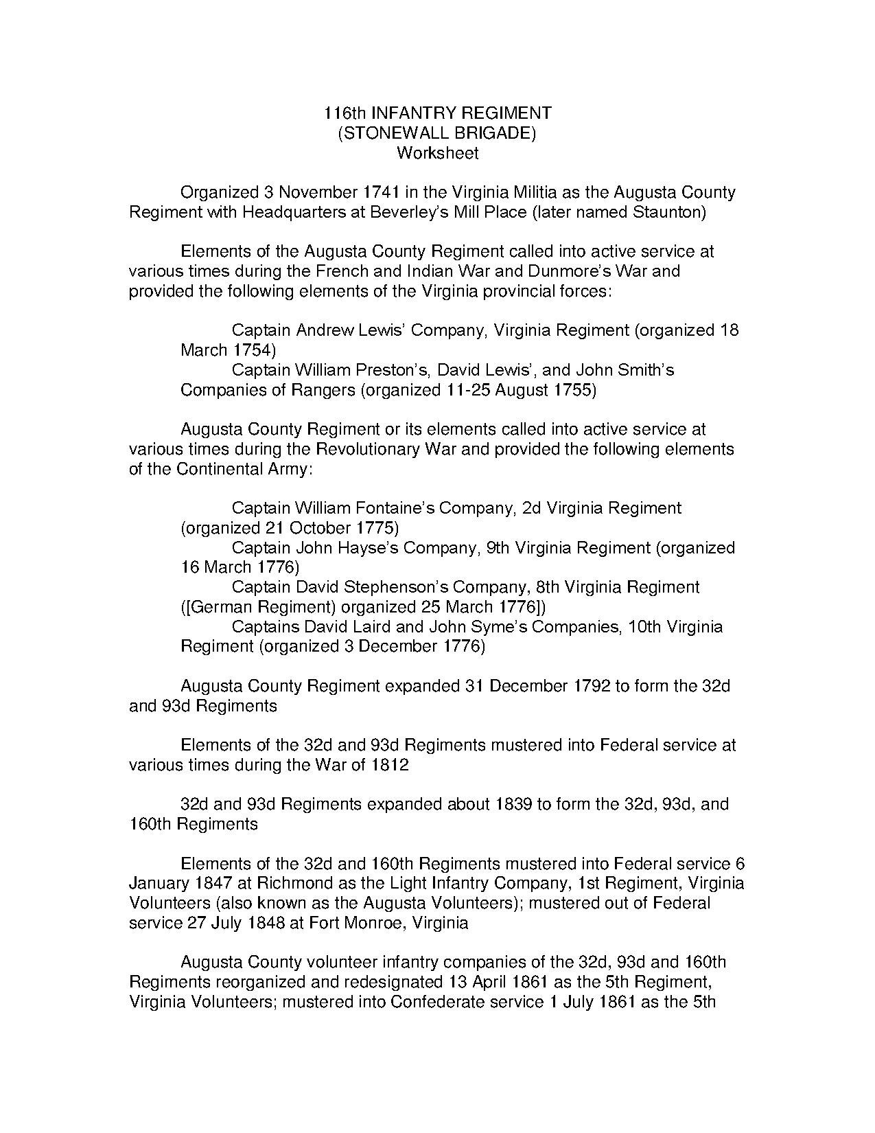 File 116th Infantry Regiment Lineage And Honors Cmh