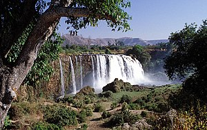 The Blue Nile Falls fed by Lake Tana near the city of Bahir Dar, Ethiopia forms the upstream of the Blue Nile. It is also known as Tis Issat Falls after the name of the nearby village.