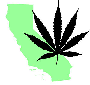 Map outline of California with a marijuana leaf.