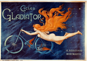 Ad poster for Cycles Gladiator; Lithograph