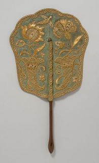 Fixed fan green silk straw embroidery c 1740 LACMA M82 122 2 2