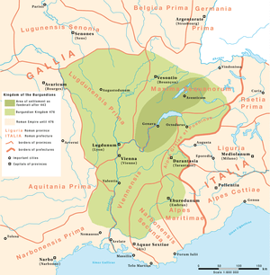 English: Kingdom of the Burgundians between 44...