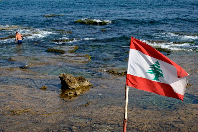 Old man sea Lebanon flag