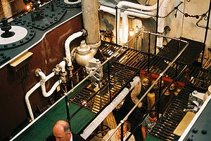 Passengers can go down into the engine room be...