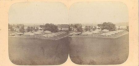 Vista de Yokohama, 1859. Estereoscopá, Papel de plata de álbum.
