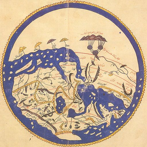 1154 world map by Moroccan cartographer al-Idrisi for king Roger of Sicily