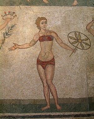 bikinimädchen, römisches Mosaik in der Villa d...