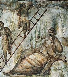 Le songe de Jacob sur une fresque de la catacombe de la Via Latina, IVe siècle