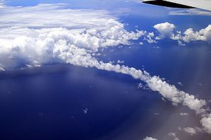 Clouds above Pacific. The picture also shows a...