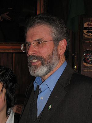 Gerry Adams wearing the Easter Lily badge. The...