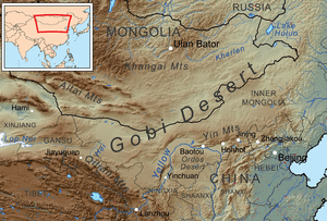 Map showing the Gobi Desert and surrounding area.