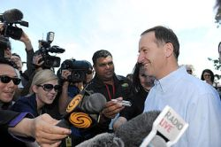 New Zealand National Party leader John Key wit...