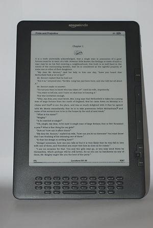 Amazon Kindle DX Graphite displaying Pride and...