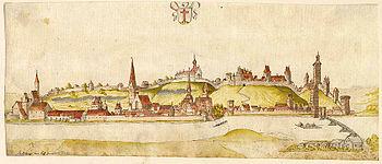 Landsberg am Lech, um 1580, kolorierte Federze...