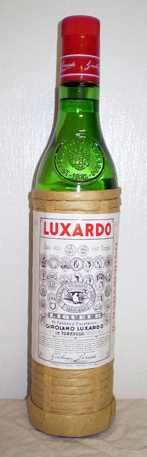 Bottle of Luxardo brand Maraschino liqueur