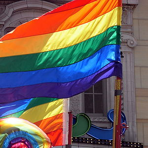 English: Rainbow flags at the end of the gay, ...