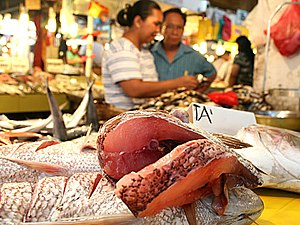 Sliced Lapu-Lapu fish on a market stall in Dav...