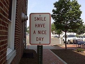 Smile have a nice day sign in Millburn, New Jersey