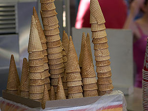 English: Picture of Waffle ice cream cones fro...