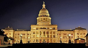 Texas State Capitol: North side by night