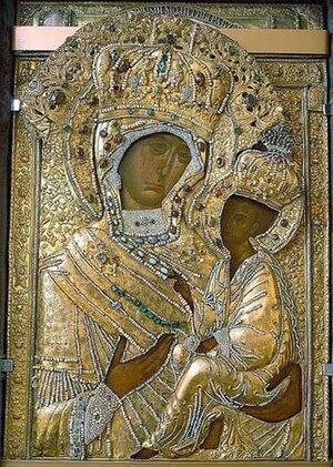 Tikhvin icon of Virgin in Tikhvinsky Monastery