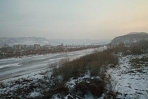 The Tumen River, at the border between North K...