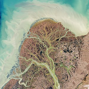 Natural-colour image of the Yukon Delta. Looki...