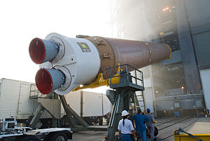 The CCB of Atlas V AV-021 is erected at the Ve...