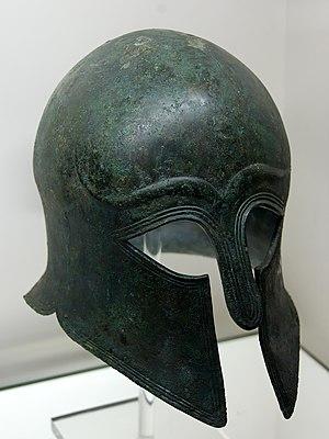 Apulo-Corinthian helmet, type A. Bronze, made ...
