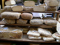 Cheese in a market in Italy