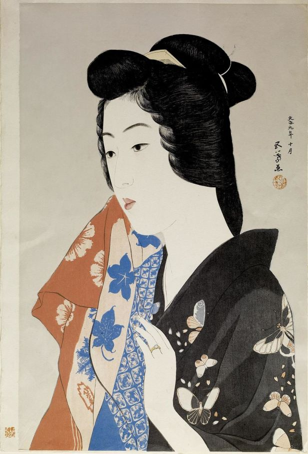 Hashiguchi Goyo - Geisha Hisae with a Towel - Walters 95876