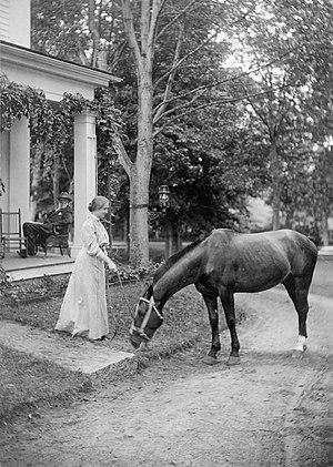 Helen Keller with horse